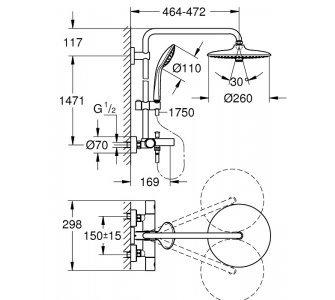 Sprchový systém s termostatickou batériou, hlavová sprcha o 260 mm, EUPHORIA SYSTEM, chróm
