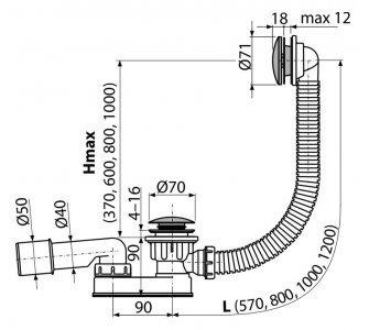 Sifón vaňový CLICK/CLACK, kov