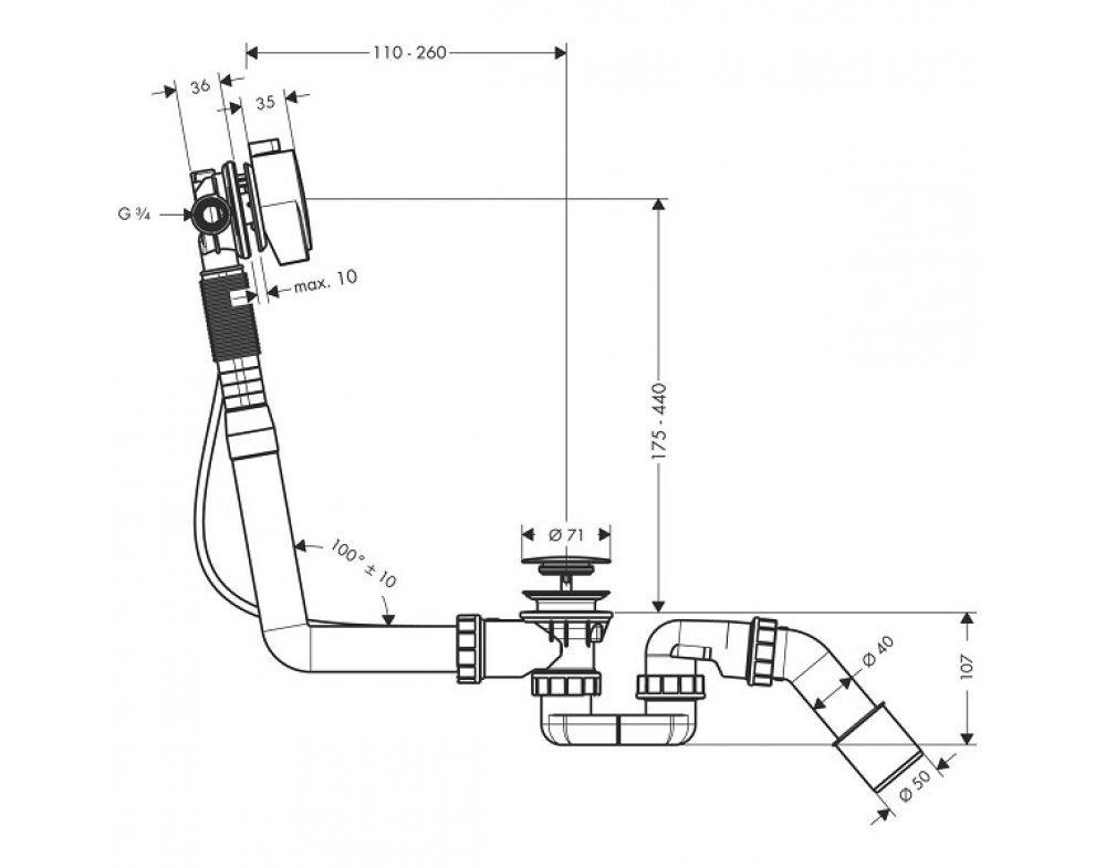 Kompletná sada vaňového výtoku, odtokovej a prepadovej súpravy pre normálne vane, EXAFILL S