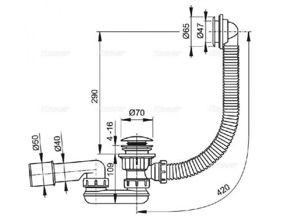 sifón vaničkový CLICK-CLAK kov (pre sprchovú vaničku s prepadom)