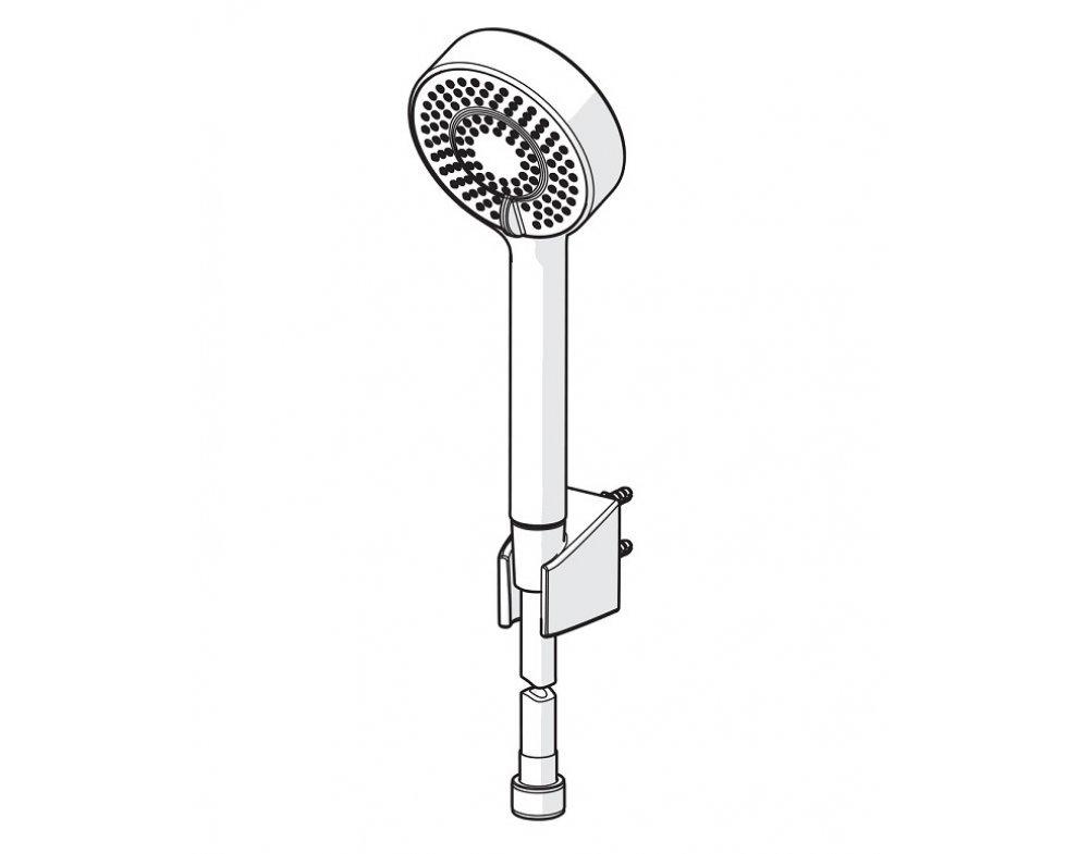 sprchový set, 3-polohová ručná sprcha, držiak, hadica 1750 mm, HANSABASICJET, matná čierna
