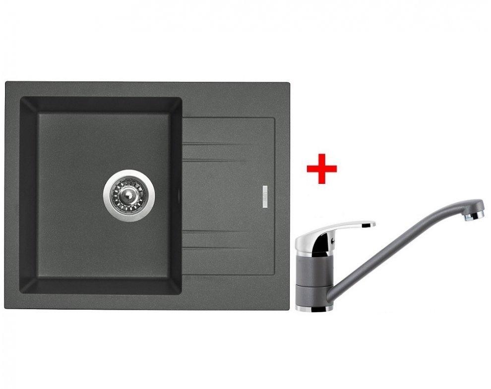 SET drez granit Sinks LINEA 600 N Titanium + batéria PRONTO GR