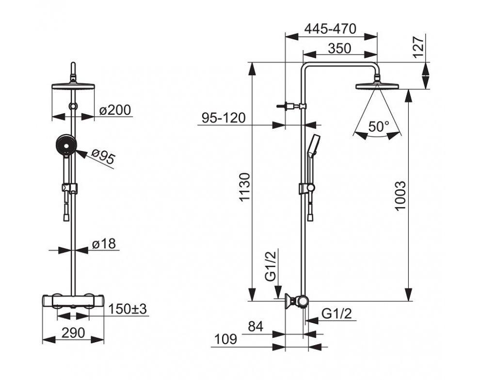 sprchový systém s termostatickou batériou, HANSAMICRA, matná čierna