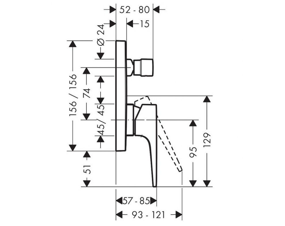 batéria vaňová podomietková, so strmeňovou pákou, METROPOL, chróm