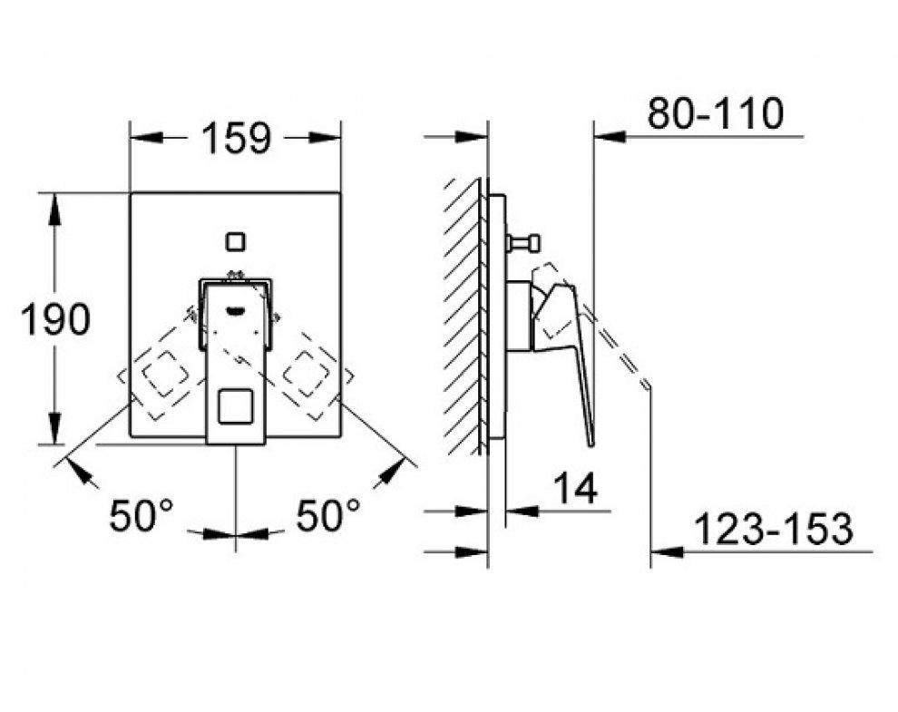 batéria sprchová podomietková pre 2 odberné miesta, EUROCUBE