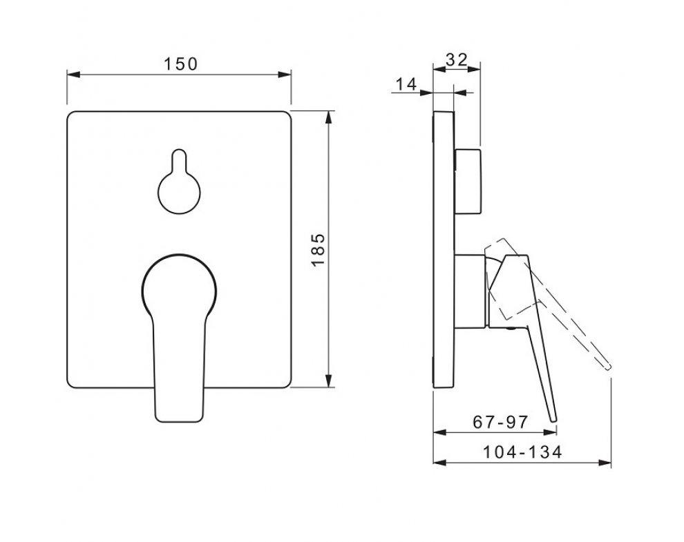 batéria sprchová podomietková pre 2 odberné miesta, HANSATWIST, matná čierna