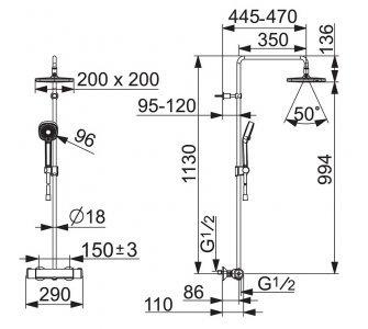 sprchový systém s termostatickou batériou, HANSAMICRA Style, chróm