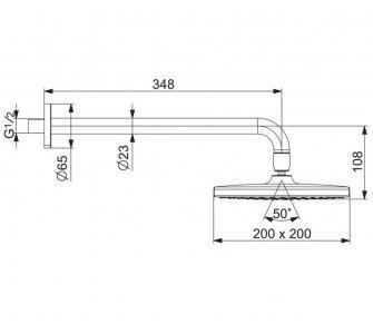 sprchová hlavica so sprchovým ramenom, 200x200 mm, HANSABASICJET Style, chróm