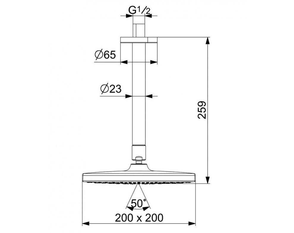 sprchová hlavica so stropným ramenom, 200x200 mm, HANSABASICJET Style, chróm
