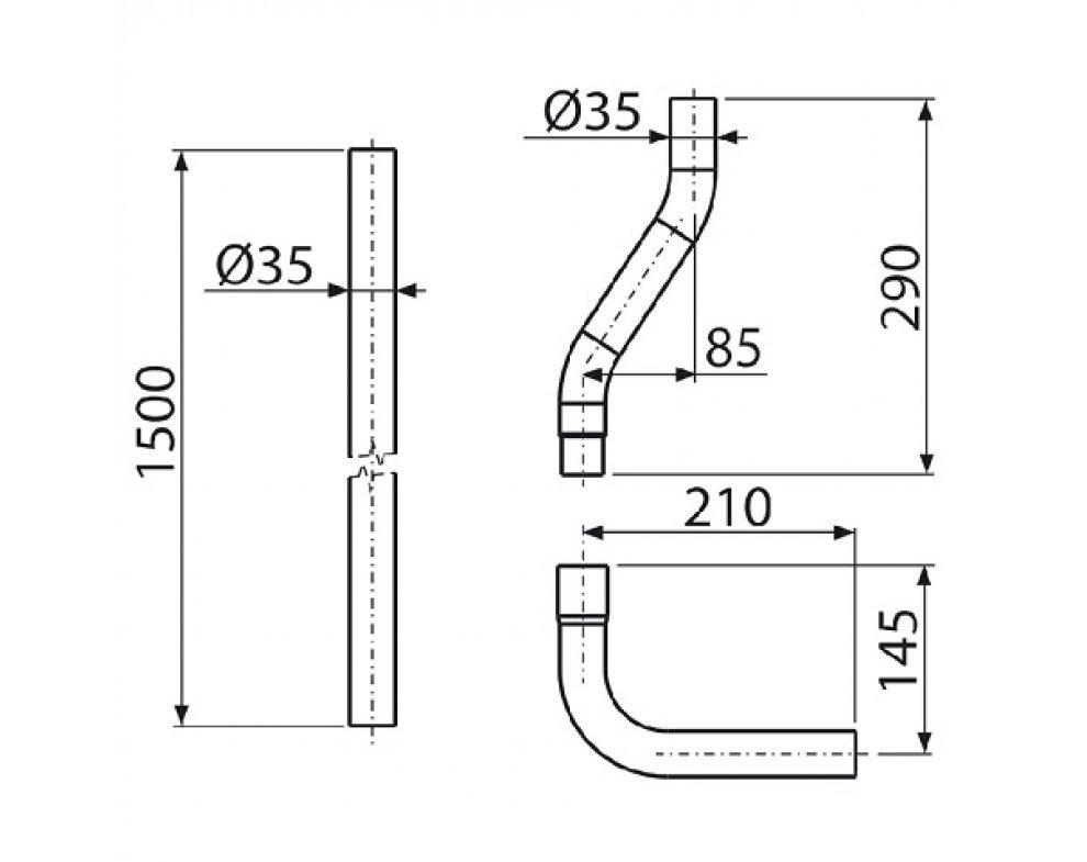 Trubica splachovacia komplet o35