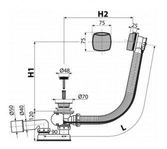 Sifón vaňový automat komplet chróm, dĺžka 80 cm