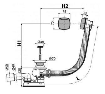 Sifón vaňový automat komplet chróm, dĺžka 100 cm