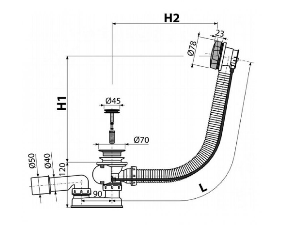 Sifón vaňový automat komplet kov, dĺžka 80 cm