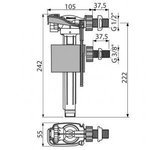 Napúšťací ventil bočný, kovový závit, univerzálny