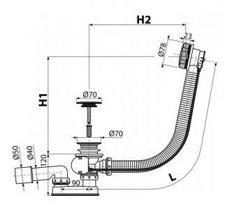 Sifón vaňový automat komplet kov, dĺžka 100 cm
