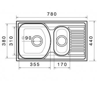 drez nerezový Sinks TWIN 780.1 V 0,6mm matný