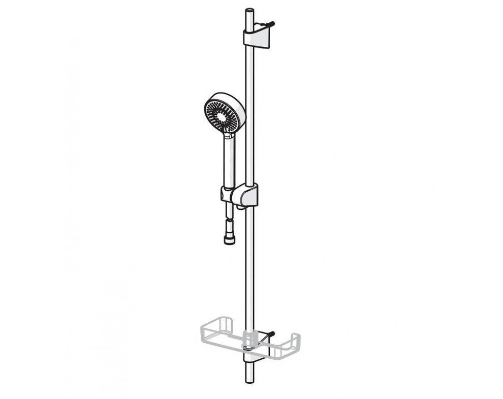 batéria vaňová stenová termostatická so sprchovou súpravou HANSABASICJET, HANSAMICRA, matná čierna