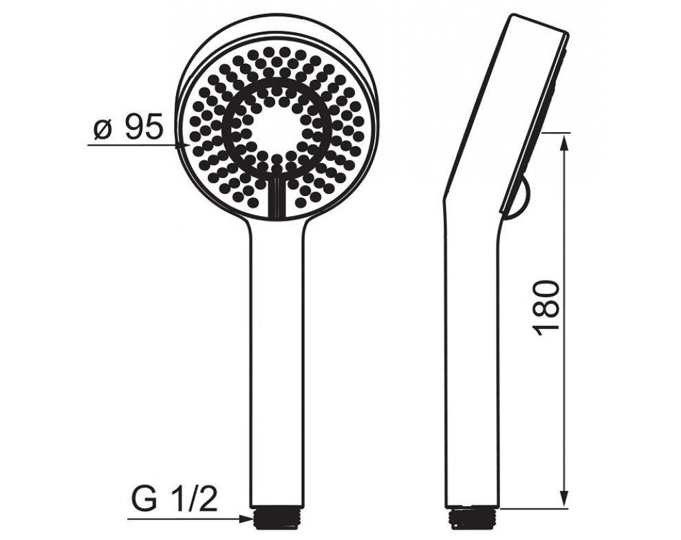 Ručná sprcha 3-polohová, HANSABASICJET, matná čierna