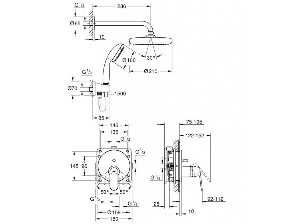 sprchový systém so sprchou Tempesta d 210, EUROSMART COSMOPOLITAN, chróm