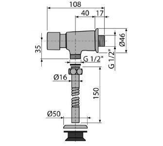 Pisoárový tlakový splachovač nadomietkový