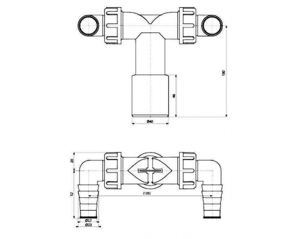 Dvojité kolienko DN40/32 / 17–23 so spätnými klapkami