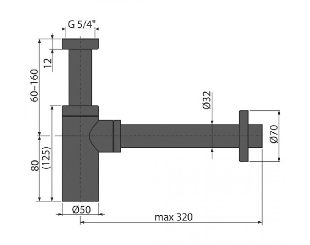 Sifón umývadlový DN32 DESIGN, čierna-mat
