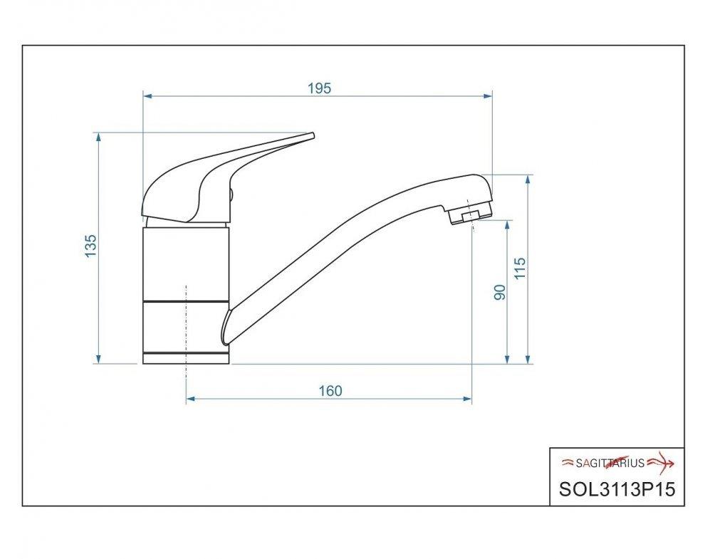 batéria nízkotlaková drezová stojanková páková s krátkym 15cm výtokovým ramenom, SOLIS