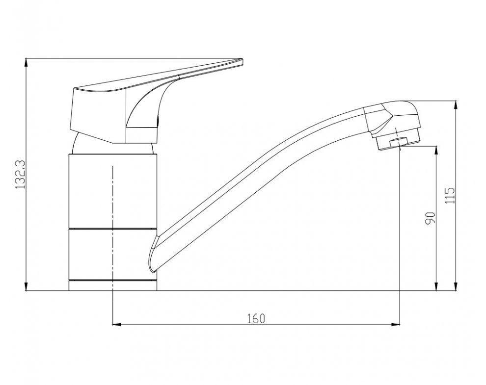 batéria nízkotlaková drezová stojanková páková s krátkym výtokovým ramenom, SOLIS