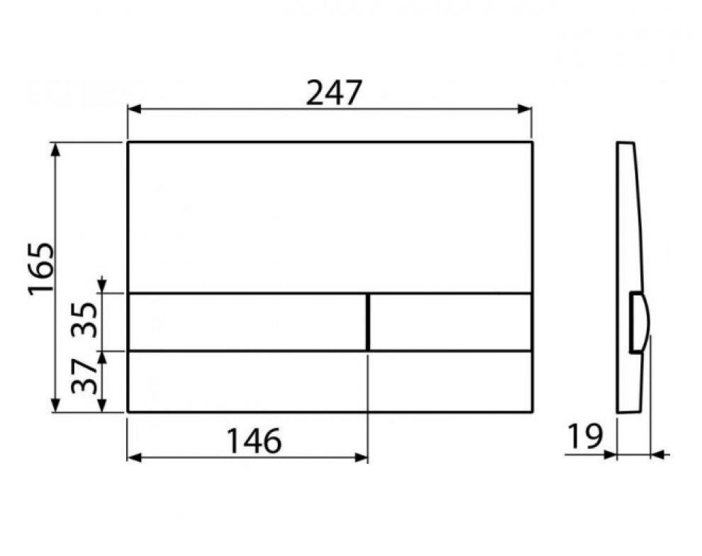 Ovládacie tlačítko pre predstenové inštalačné systémy, biela-lesk/čierna-lesk