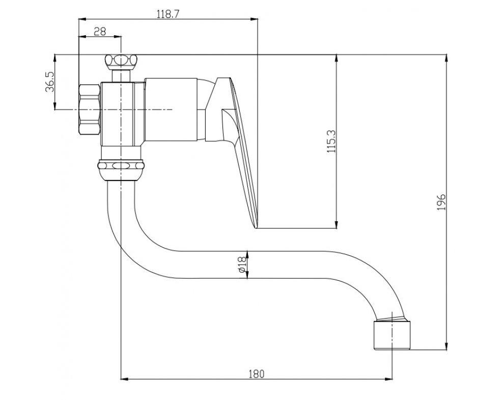 batéria nízkotlaková drezová stenová páková s trubkovým 18cm