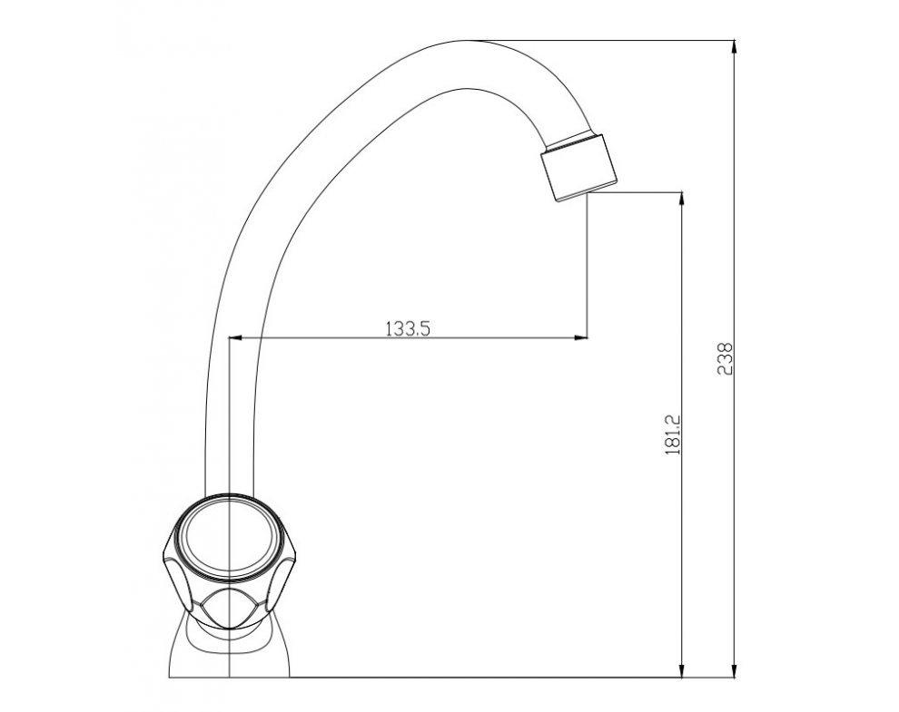 batéria nízkotlaková drezová stojanková klasická s horným krátkym 18cm výtokovým ramenom, SOLIS