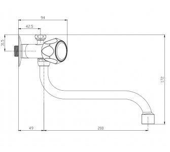 batéria nízkotlaková drezová stenová klasická s trubkovým 20cm