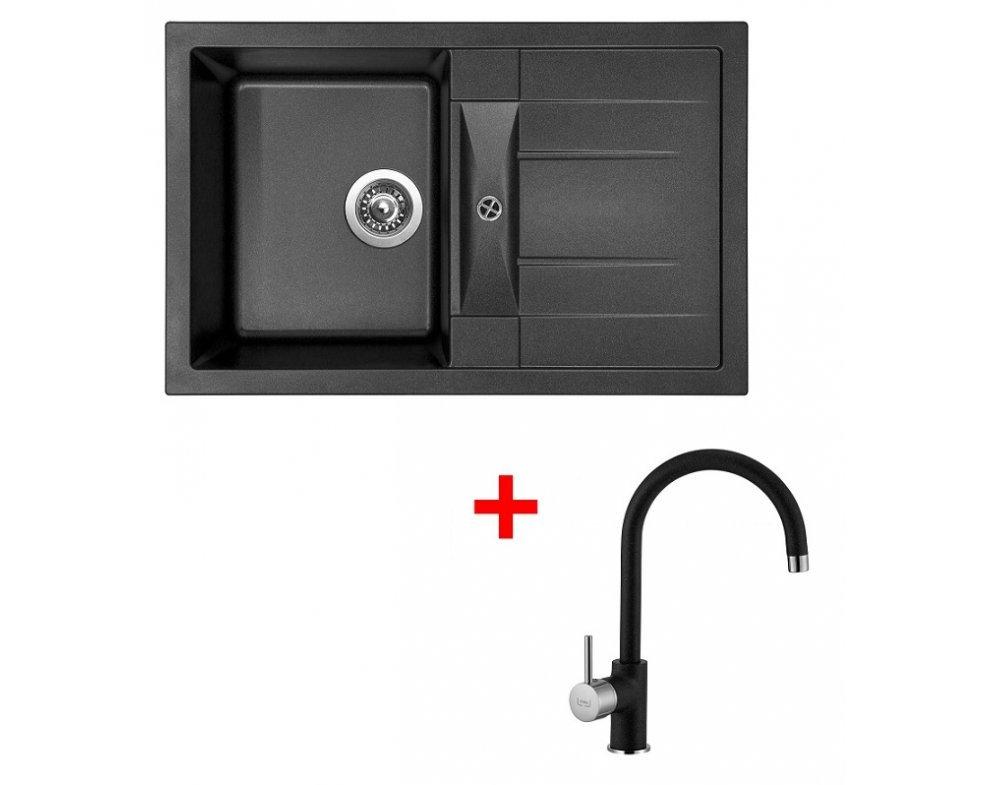 SET drez granit Sinks CRYSTAL 780 Metalblack + batéria VITALIA GR