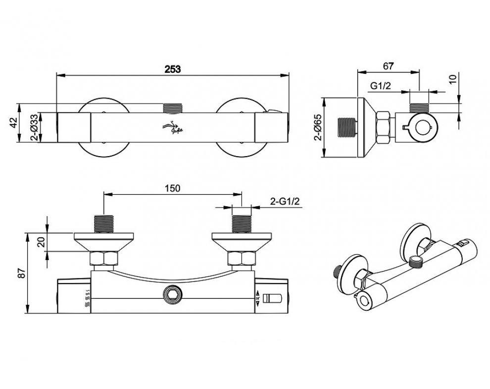 sprchový set termostatickej batérie PULZAR s tyčou IPPARI a kompletným príslušenstvom