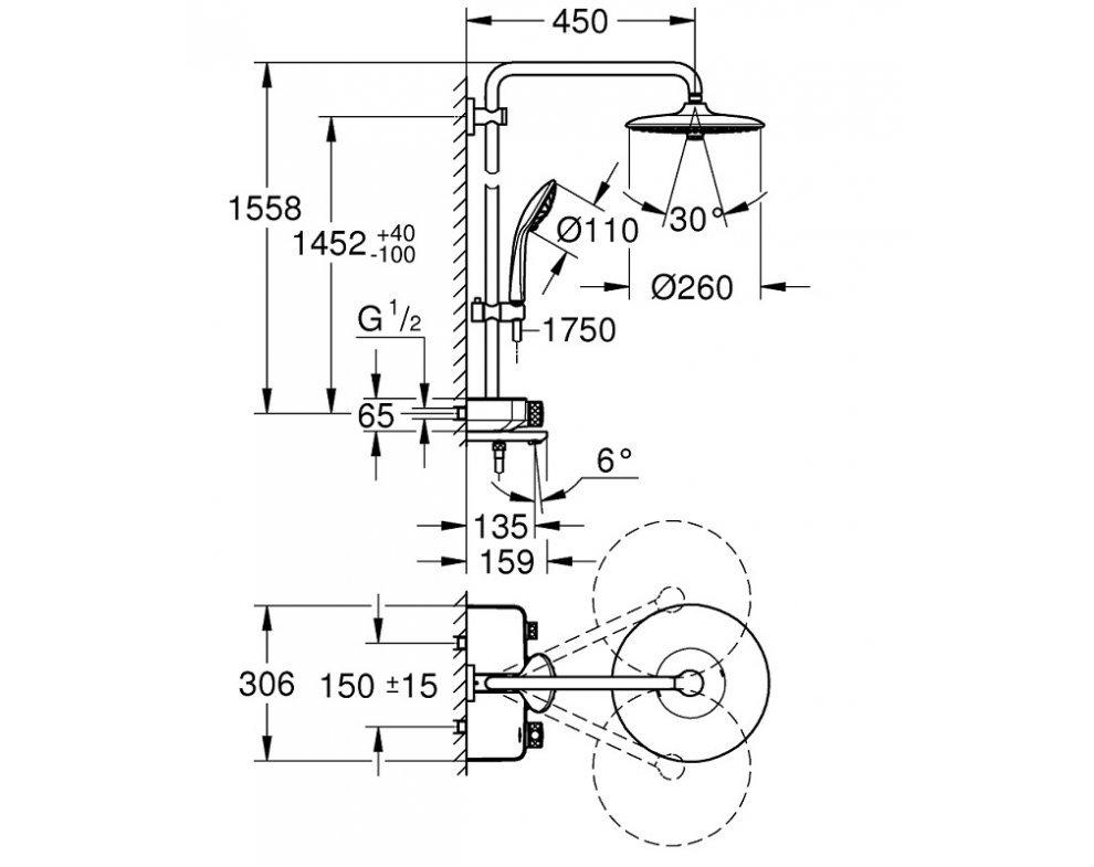 sprchový systém s termostatickou batériou, EUPHORIA SMARTCONTROL MONO, chróm