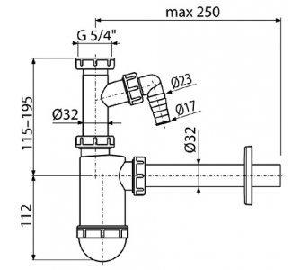 Sifón umývadlový o32 s prípojkou a prevlečnou maticou 5/4