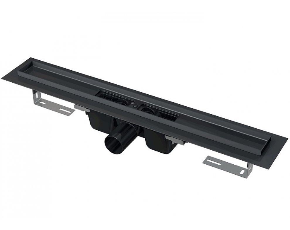 Podlahový žľab s okrajom pre perforovaný rošt, čierna-mat