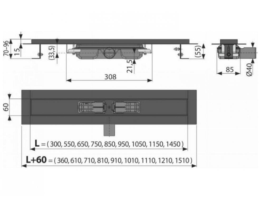 Low - Podlahový žľab s okrajom pre perforovaný rošt, čierna-mat