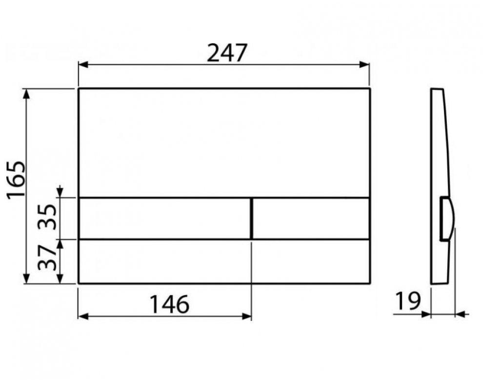 Ovládacie tlačítko pre predstenové inštalačné systémy, čierna-lesk