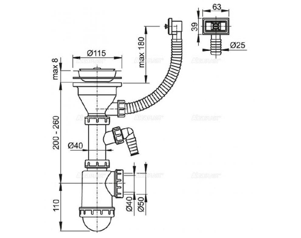 Sifón drezový s nerezovou mriežkou o115, flexi prepadom a prípojkou