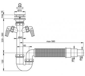 Sifón trubkový s nerezovou mriežkou o70, dvoma prípojkami a flexi hadicou