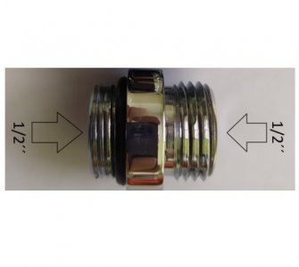 vsuvka 1/2 x 1/2 s tesnením do termostatických batérií, chróm
