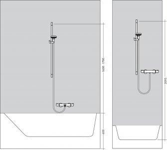 Sprchová súprava Raindance Select E, ručná sprcha 120 3jet EcoSmart 9 l/min, nástenná tyč Unica'S Puro 0,90 m, chróm