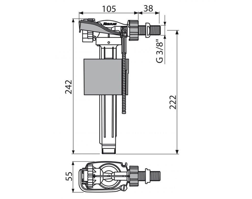 Napúšťací ventil bočný pre keramické nádržky