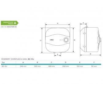elektrický zásobníkový tlakový ohrievač vody BD 2,0kW 10l vrchný