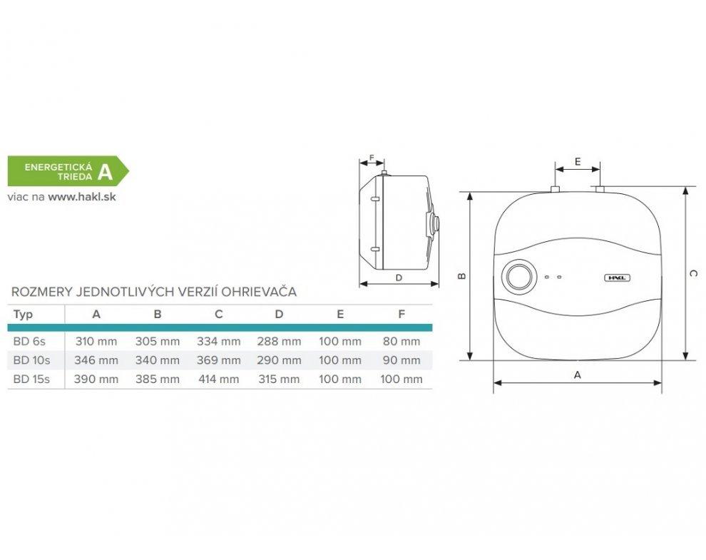 elektrický zásobníkový tlakový ohrievač vody BD 1,5kW 6l spodný
