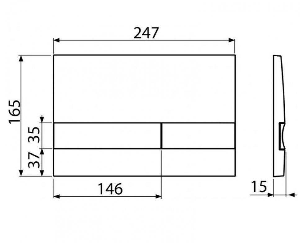 Ovládacie tlačítko pre predstenové inštalačné systémy, čierna-lesk/chróm-mat