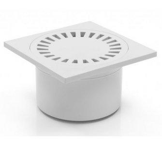 Podlahový vpust spodný s vodnou hladinou a mriežkou plastovou, DN50/84, biely