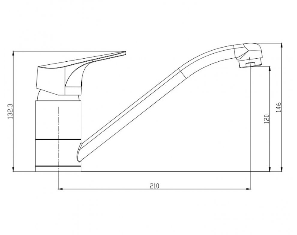 batéria nízkotlaková drezová stojanková páková s dlhým výtokovým ramenom, SOLIS