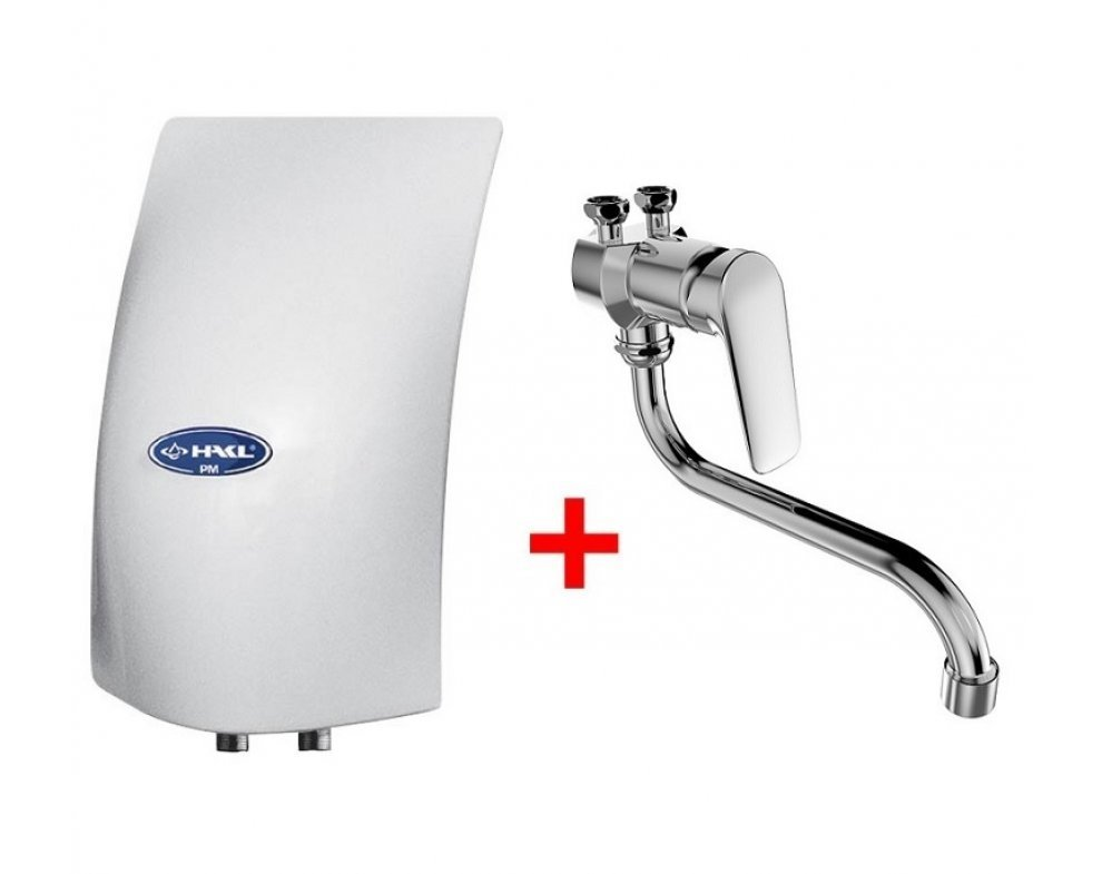 elektrický prietokový ohrievač vody PM 3,5kW s drezovou stenovou pákovou batériou SOLIS